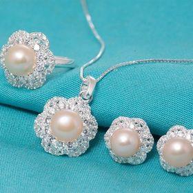 Bộ trang sức ngọc trai lavender set174-pearl giá sỉ