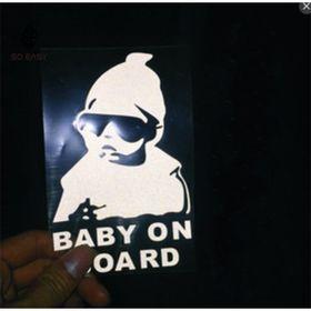 Decal dán trang trí hình EM BÉ ĐỘI NÓN - BABY ON BOARD sticker dễ thương tạo sự cảnh giác chạy chậm xe phía sau cho xe hơi ôtô xe khách xe tải EX008 giá sỉ