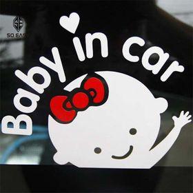 Decal dán trang trí hình EM BÉ - BABY IN CAR sticker dễ thương tạo sự cảnh giác chạy chậm xe phía sau cho xe hơi ôtô xe khách xe tải xe máy EX009 giá sỉ
