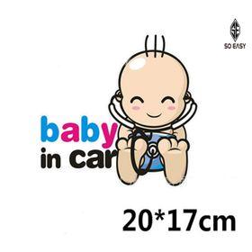 Decal dán trang trí hình EM BÉ - BABY IN CAR đeo ống nghe Bác Sĩ sticker dễ thương tạo sự cảnh giác chạy chậm xe phía sau cho xe hơi ôtô xe khách xe tải xe máy EX018 giá sỉ