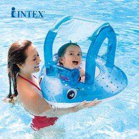 Phao bơi hình cá đuối có mái che xỏ chân cho bé