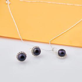Opal - Bộ trang sức bạc và ngọc trai đen tự nhiên giá sỉ