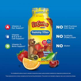 Kẹo dẻo Mỹ Lil Critters bổ sung Canxi x2 các Vitamin thiết yếu và Lutien cho bé - L'il Critters Gummy Vites 300 viên giá sỉ