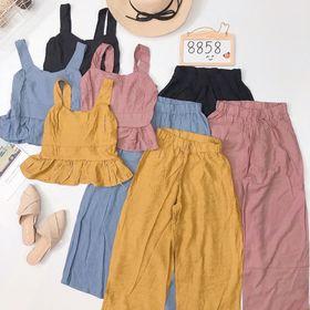 Set bộ áo 2d peplum quần ống rộng giá sỉ