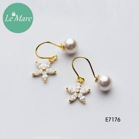 Khuyên tai ngọc trai hoa năm cánh đính đá E7176 giá sỉ