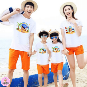 Áo gia đình đi biển đẹp cotton dày dặn mềm mát đủ màu đủ size 6-110kg giá sỉ