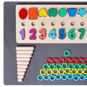 Giáo Cụ Montessori Cột Tính Học Đếm Và Hình Khối Bằng Gỗ Cho Bé giá sỉ
