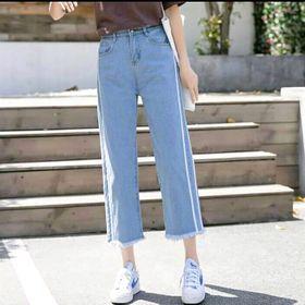 Quần jean ống rộng nữ viền 2 sọc