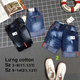 Chào lô jean lửng bé trai lật lai chất jean cotton mềm mịn mát Wat 3 màu như hình Hàng bao đẹp Size 3-8 r6 giá 8x Size 9-14 r6 giá 9xbn ib giá sỉ