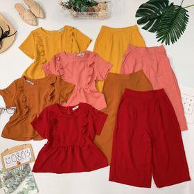 Set áo peplum viền bèo quần ống rộng Mua 1 được 2 giá sỉ