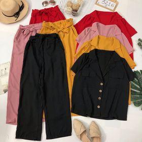Set bộ áo vest quần ống rộng nơ Mặc chung bộ hoặc mix rời cũng qá đẹp giá sỉ