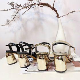 Giày sandal bản gót ánh đồng cao 6f siêu sang chảnh giá sỉ