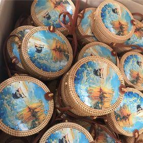 Túi mây tre đan thuyền sơn mài- 20cm túi cói XinhXinh
