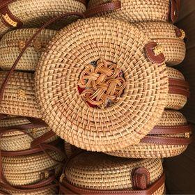 Túi mây tre đan bo hoa -18cm túi cói XinhXinh