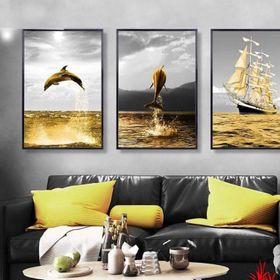Khung tranh Canvas thuyền vàng biển bạc MK TPD 080 giá sỉ