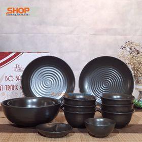 Bộ bát đĩa men đen mát 12 món setup bàn ăn đẹp mắt, giá thành rẻ, , an toàn - XƯỞNG GỐM VIỆT giá sỉ