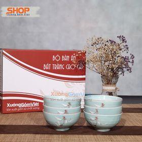 Bộ 6 chén cơm setup bàn ăn giá rẻ men xanh vẽ trúc-hàng gốm sứ Bát Tràng - XƯỞNG GỐM VIỆT giá sỉ
