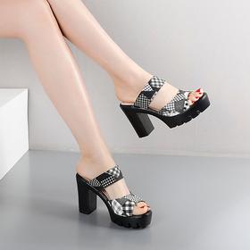 Sandal gót trụ 8cm siêu nhẹ, Hàn Quốc
