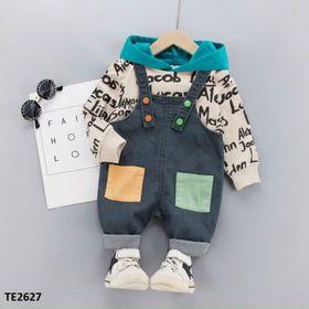 Set quần yếm bò mix áo thun in chữ có mũ cool ngầu TE-2627 giá sỉ