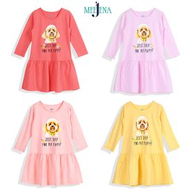 Đầm Bé Gái Dài Tay In Poodle14-38 kgMEEJENA100% Cotton - 1830 giá sỉ