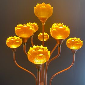Đèn thờ thủy lưu ly đẹp, đôi đèn hoa sen thờ thủy lưu li 9 bông tốt, tinh xảo giá sỉ
