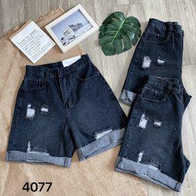 Quần ngố jean nữ size đại màu đen rách Ms4077 kho chuyên sỉ jean 2KJean giá sỉ