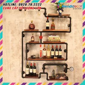 kệ treo tường Kiêm đèn tường decor bằng ống săt độc lạ bền đẹp trang trí phòng khách sáng tạo giá sỉ
