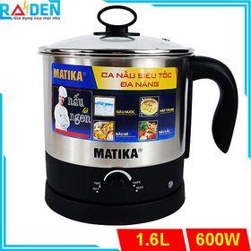 Ca siêu tốc đa năng Matika MTK-1612 có khay hấp, thích hợp nấu lẩu văn phòng giá sỉ