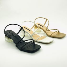 Sandal gót vuông HADU G334 dây rút, gót mika giá sỉ