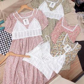 Đầm cổ vuông phối áo ren ngoài giá sỉ