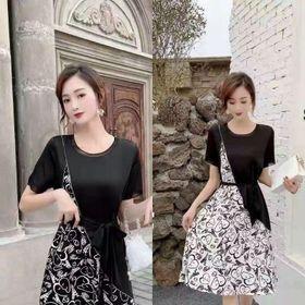 Váy lụa xòe phối 2 màu giá sỉ