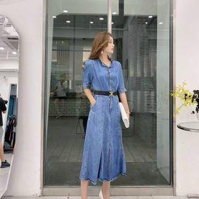 Đầm jean xoè kèm nịt D98758 - Kho sỉ giá sỉ