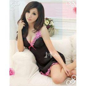 Đầm ngủ thun bóng phối ren hở vai quyến rũ - A1336 giá sỉ