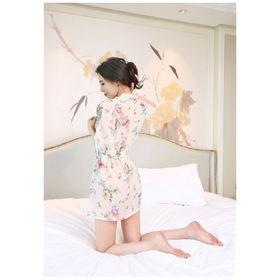 Áo khoác ngủ vải voan in họa tiết hoa 8016 CH59 giá sỉ