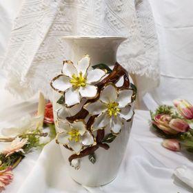 Lọ hoa men sữa trắng đắp hoa nổi giá sỉ