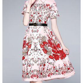 Đầm lụa hồng đào D98889 - Kho sỉ giá sỉ