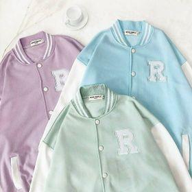 Áo khoác cardigan thun nỉ ngoại logo R cá tính giá sỉ