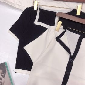 Áo len mịn croptop phối trắng đen giá sỉ