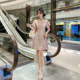 Đầm váy xòe ren hoa cổ tàu màu hồng - D66