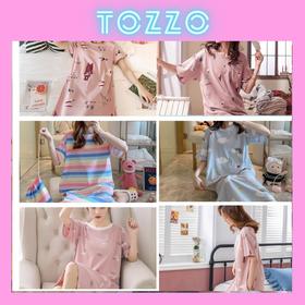 Váy ngủ đầm ngủ cotton cộc tay hoạt hình cute dễ thương dáng xuông mặc nhà mùa hè VN01